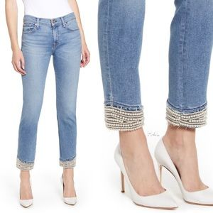 NWT 7FAM Pearled Hem Lux Flora Ankle Jeans